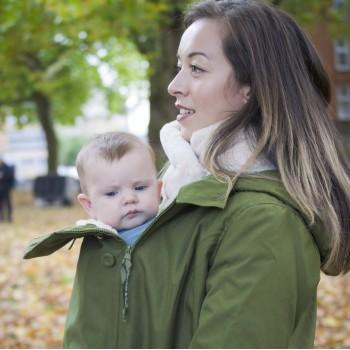 Wallaby - šilta striukė vaiko nešiojimui, nėštumui, kasdienai, Forest Green